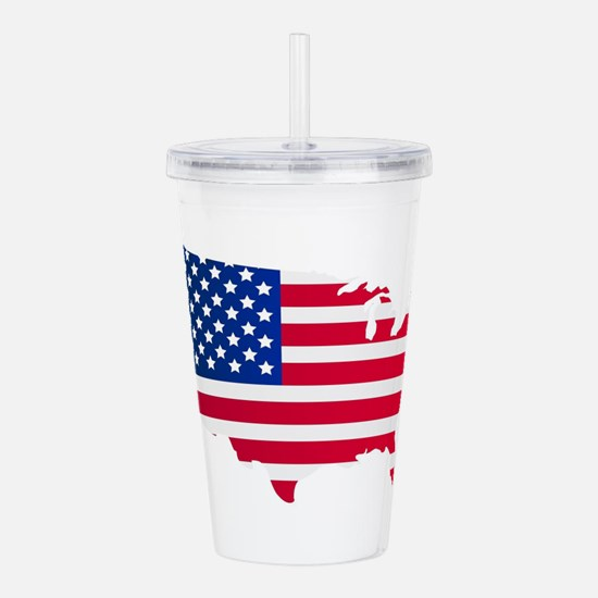 United States map with Acrylic Double-wall Tumbler