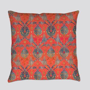 Blue Leaves Antique Floral Everyday Pillow