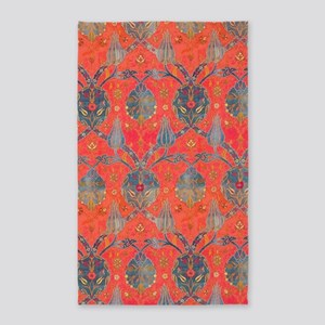 Blue Leaves Antique Floral Area Rug