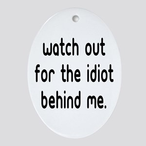 Watch out for the idiot behin Oval Ornament