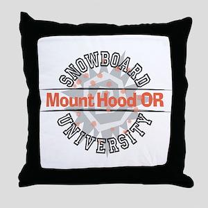 Snowboard Mt. Hood OR Throw Pillow