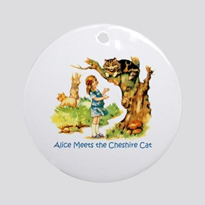 ALICE MEETS THE CHESHIRE CAT Ornament (Round)