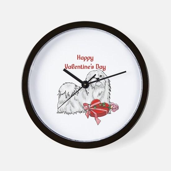 Happy Valentine's Day Maltese Wall Clock
