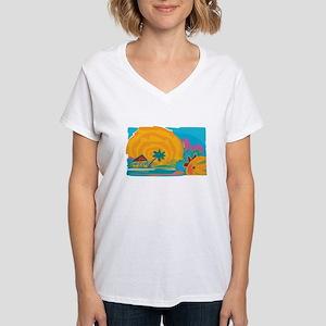 Caribbean Island Sun Women's V-Neck T-Shirt