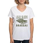 Lead Sleds in Green Women's V-Neck T-Shirt