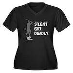 Silent But Deadly Women's Plus Size V-Neck Dark T-