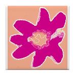 Ceramic Flower Tile Coaster/Trivet (Pink)