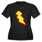Lightning Bolt Women's Plus Size V-Neck Dark T-Shi