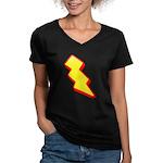 Lightning Bolt Women's V-Neck Dark T-Shirt