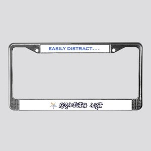Distracted Blue License Plate Frame