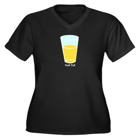 Half Full Women's Plus Size V-Neck Dark T-Shirt