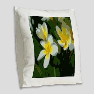 Flower lillies Burlap Throw Pillow