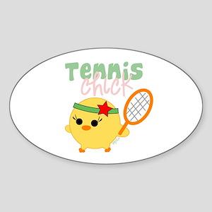 Tennis Chick Oval Sticker