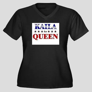 KAILA for queen Women's Plus Size V-Neck Dark T-Sh