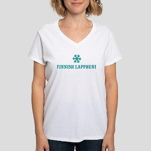 FINNISH LAPPHUND Snowflake Women's V-Neck T-Shirt