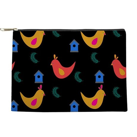 Colorful Cute Chickens on Black Makeup Bag