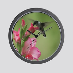Hummingbird And Gladiolas Wall Clock