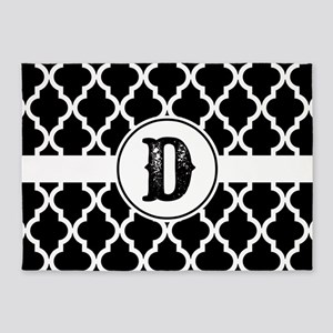 Black Monogram: Letter D 5'x7'Area Rug