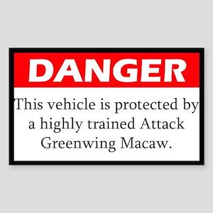 Danger Attack Greenwing Macaw Sticker