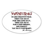 Moliere Writing Quote Oval Sticker