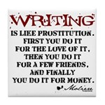Moliere Writing Quote Tile Coaster