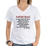 Moliere Writing Quote Women's V-Neck T-Shirt