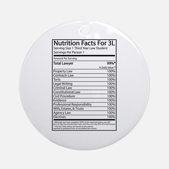 Nutrition Facts For 3L Ornament (Round)