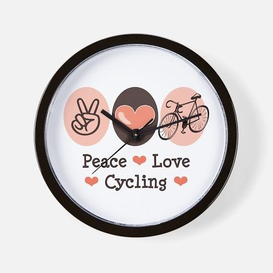 Bicycle Peace Love Cycling Wall Clock