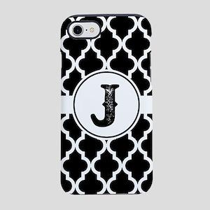 Black Monogram: Letter J iPhone 8/7 Tough Case