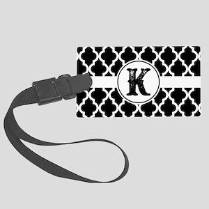 Black Monogram: Letter K Large Luggage Tag