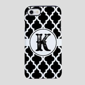 Black Monogram: Letter K iPhone 8/7 Tough Case