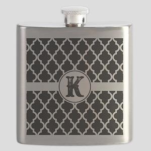 Black Monogram: Letter K Flask
