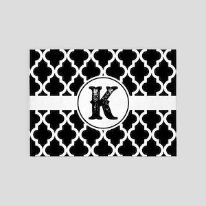 Black Monogram: Letter K 5'x7'Area Rug