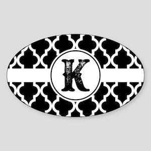 Black Monogram: Letter K Sticker (Oval)