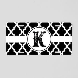 Black Monogram: Letter K Aluminum License Plate