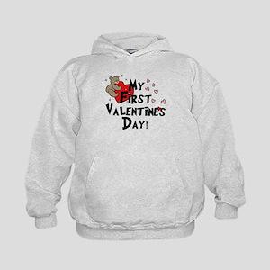 First Valentine's Bear Heart Kids Hoodie