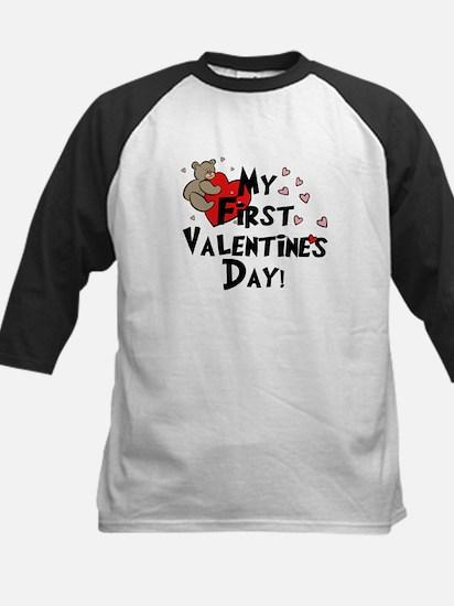 First Valentine's Bear Heart Kids Baseball Jersey