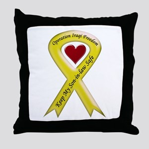 Yellow Ribbon Son-in-law Throw Pillow