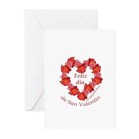 Spanish Rose Wreath on White Greeting Cards (Pk of