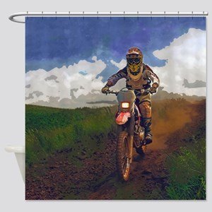 Dirt Biker on Country Road Shower Curtain