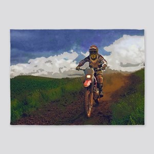 Dirt Biker on Country Road 5'x7'Area Rug