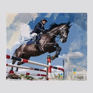 Rider Jumping Horse in Competition Throw Blanket