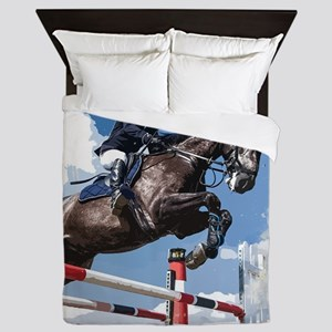 Rider Jumping Horse in Competition Queen Duvet