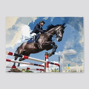 Rider Jumping Horse in Competition 5'x7'Area Rug