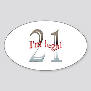 I'm Legal 21st Birthday Oval Sticker