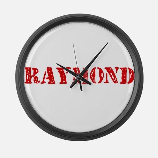 Raymond Retro Stencil Design Large Wall Clock