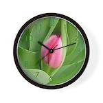 Pink Tulip Bud Wall Clock