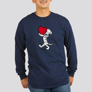 Dalmatian Valentine Long Sleeve Dark T-Shirt