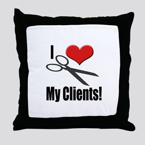 I Love (Heart) My Clients Throw Pillow