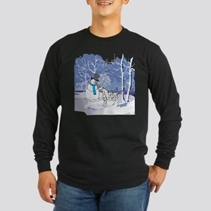 Snowman & Dalmatian Holiday Long Sleeve Dark T-Shi